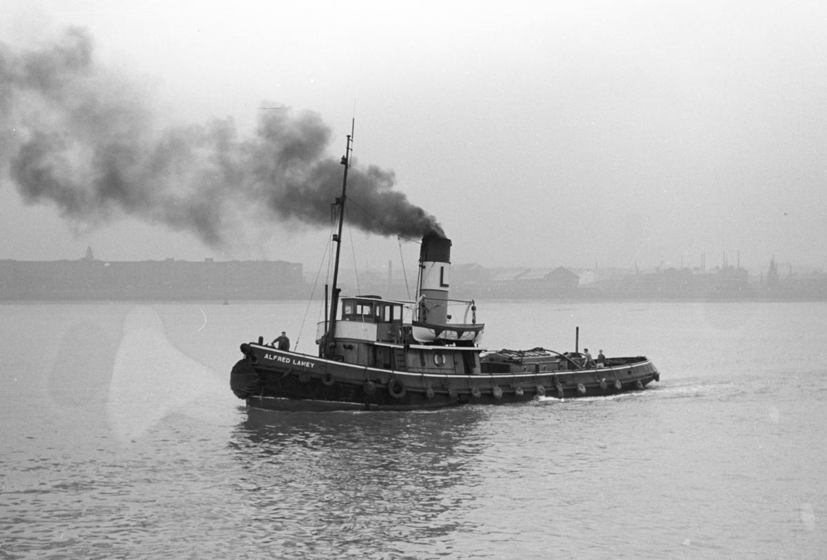 alfred lamey of lamey tugs just off seacombe on the river mersey late 1950s